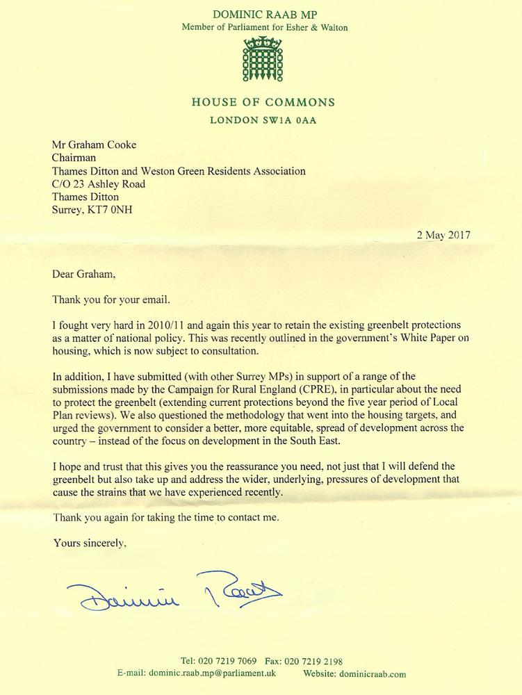 Dominic Raab greenbelt reply letter
