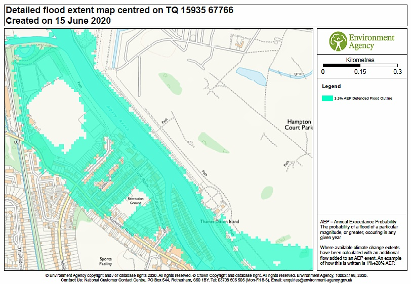 Detailed flood extent map